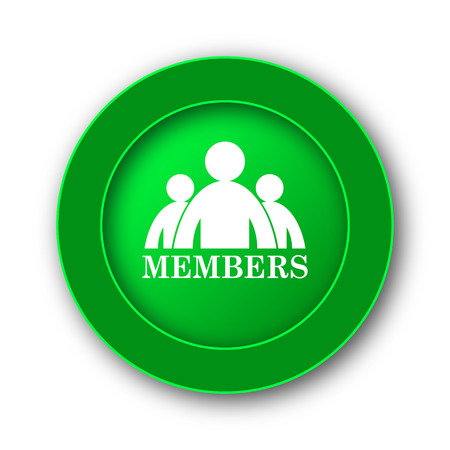 Members icon. Internet button on white background. Stock Photo