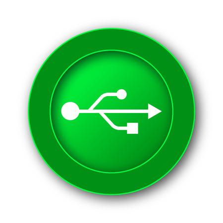 serial: USB icon. Internet button on white background. Stock Photo