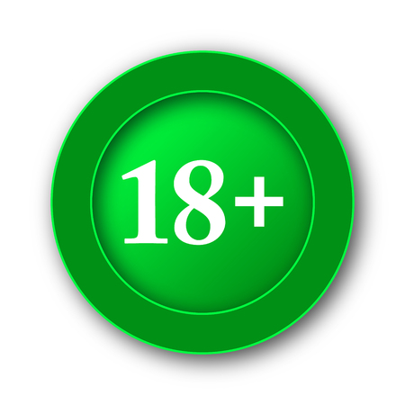 restricted area sign: 18 plus icon. Internet button on white background.