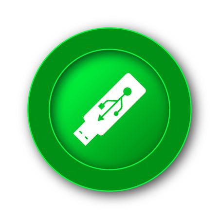 Usb flash drive icon. Internet button on white background. Stock Photo