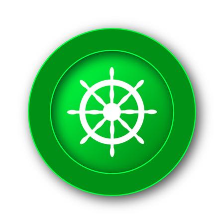 Nautical wheel icon. Internet button on white background.