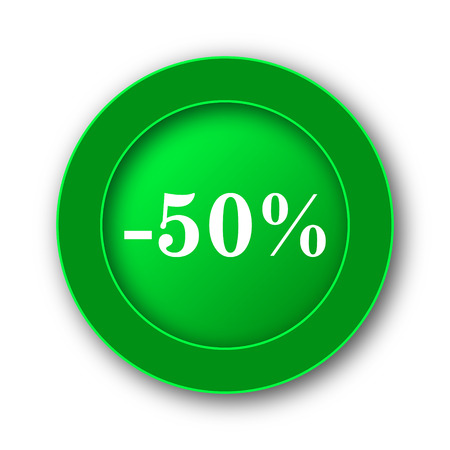 50 percent discount icon. Internet button on white background.