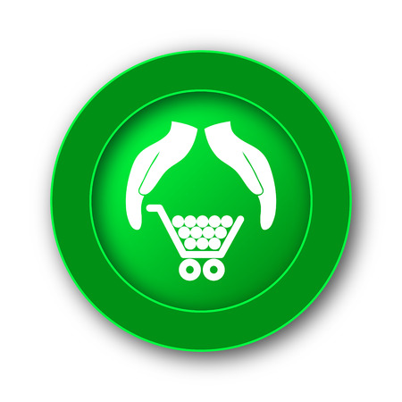 Consumer protection, protecting hands icon. Internet button on white background.