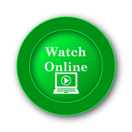 media player: Watch online icon. Internet button on white background. Stock Photo