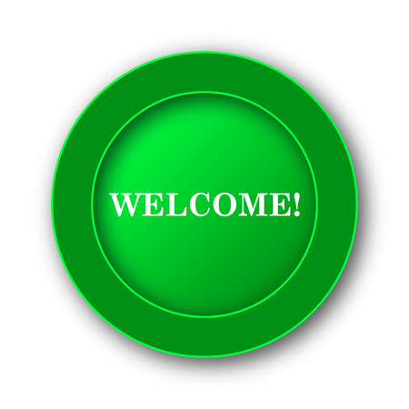 proclaim: Welcome icon. Internet button on white background. Stock Photo