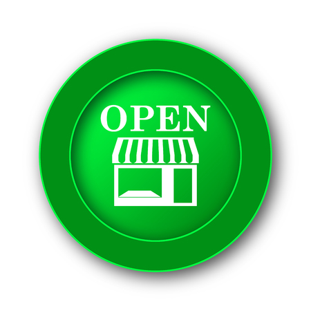 mall signs: Open store icon. Internet button on white background. Stock Photo