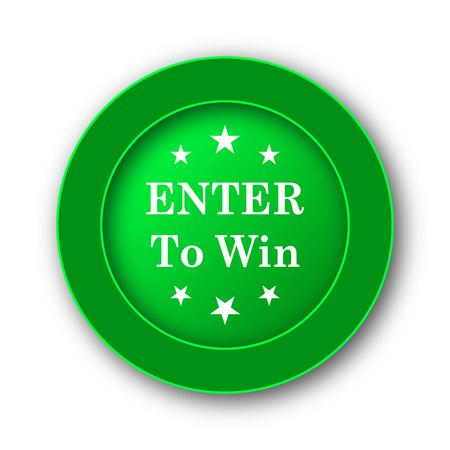 Enter to win icon. Internet button on white background.