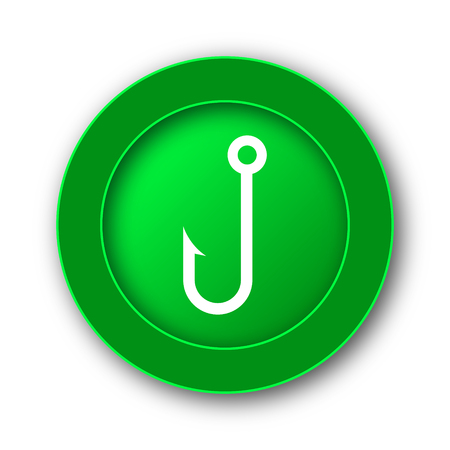 Fish hook icon. Internet button on white background.