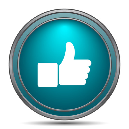 Thumb up icon. Internet button on white background.