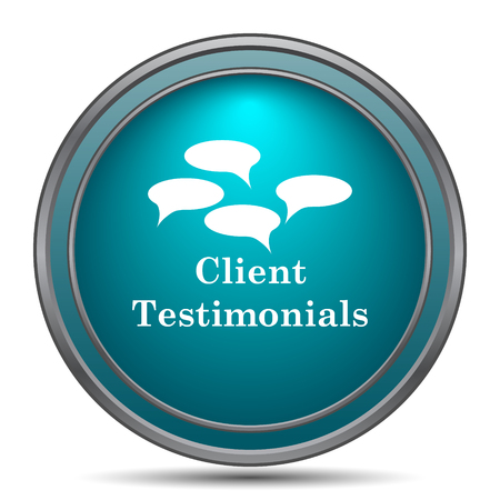 tribute: Client testimonials icon. Internet button on white background.