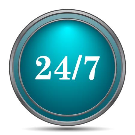 24 7: 24 7 icon. Internet button on white background.