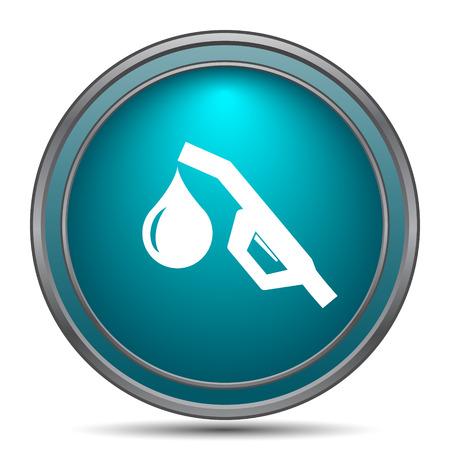 gasoline pump: Gasoline pump nozzle icon. Internet button on white background. Stock Photo