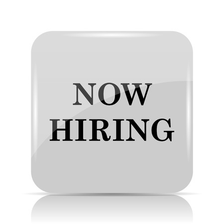 vacancy: Now hiring icon. Internet button on white background. Stock Photo