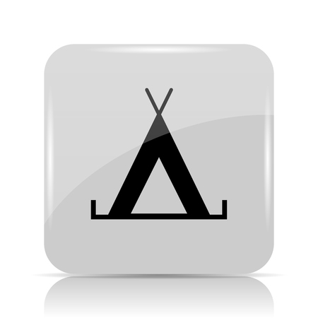 excursion: Tent icon. Internet button on white background. Stock Photo