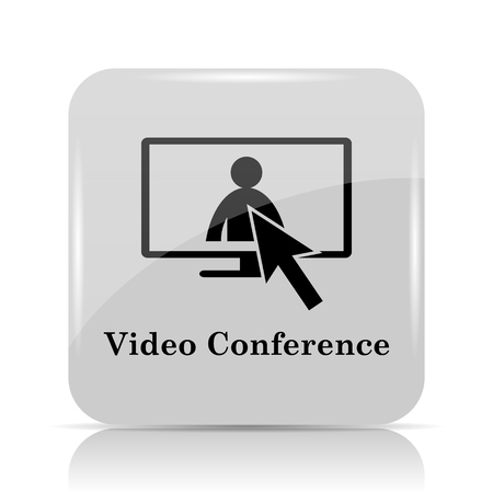 human resource affairs: Video conference, online meeting icon. Internet button on white background. Stock Photo