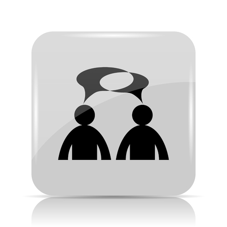 comments: Comments - men with bubbles icon. Internet button on white background.