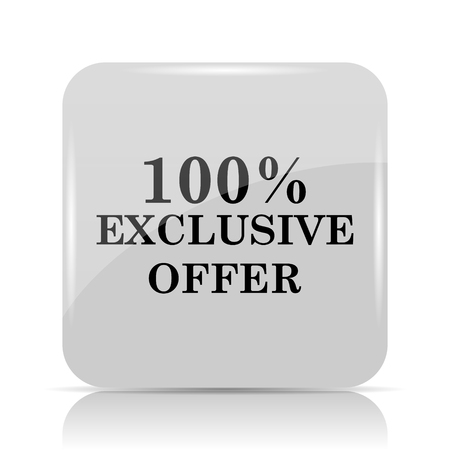 exclusive: 100% exclusive offer icon. Internet button on white background. Stock Photo
