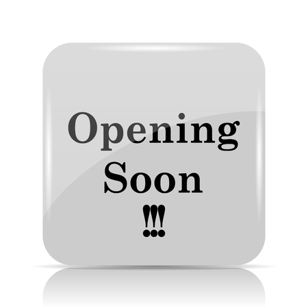 inform: Opening soon icon. Internet button on white background.
