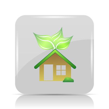 Eco house icon. Internet button on white background. Stock Photo