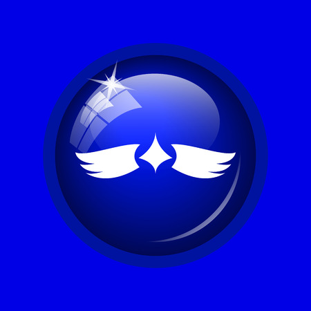 pacification: Wings icon. Internet button on blue background. Stock Photo