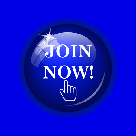 join now: Join now icon. Internet button on blue background. Stock Photo