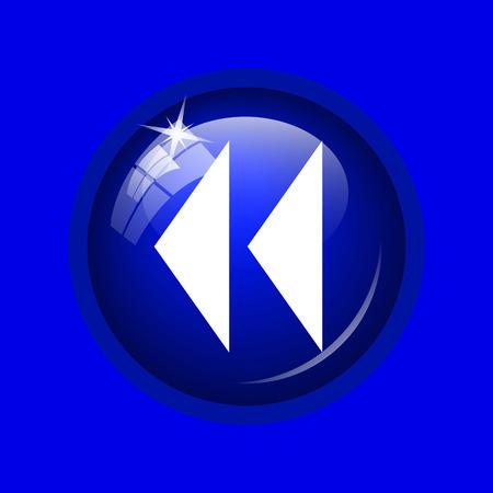 rewind: Rewind icon. Internet button on blue background.