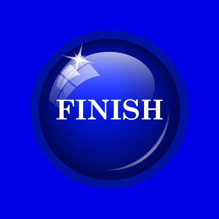 abort: Finish icon. Internet button on blue background. Stock Photo