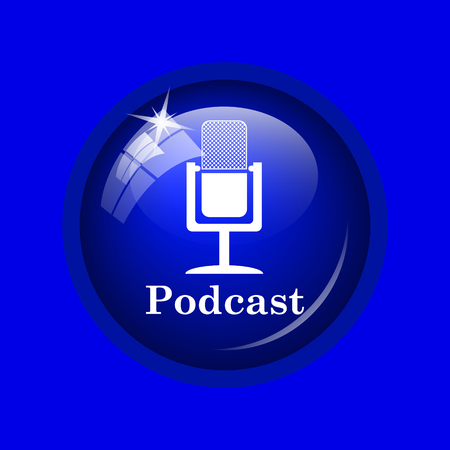 podcast: Podcast icon. Internet button on blue background. Stock Photo