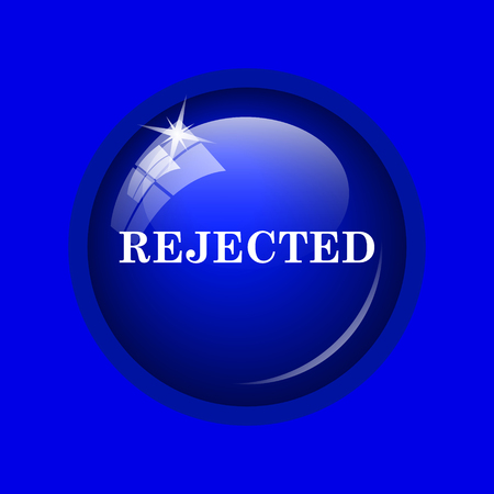 rejected: Rejected icon. Internet button on blue background. Stock Photo