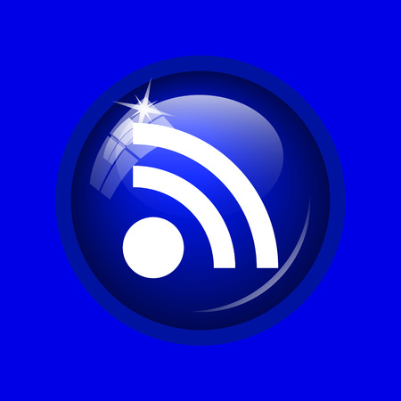 Rss sign icon. Internet button on blue background. Stock Photo