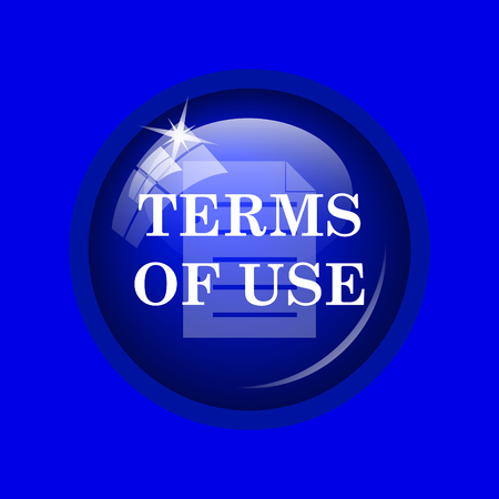terms: Terms of use icon. Internet button on blue background.