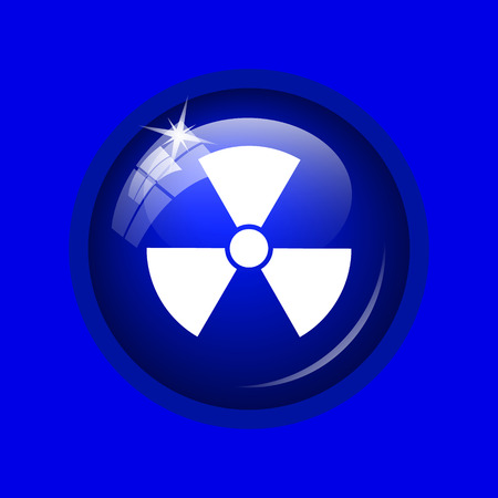 emanation: Radiation icon. Internet button on blue background.