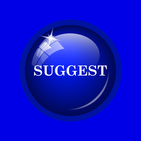 suggest: Suggest icon. Internet button on blue background. Stock Photo