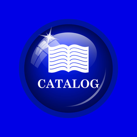 catalog: Catalog icon. Internet button on blue background.