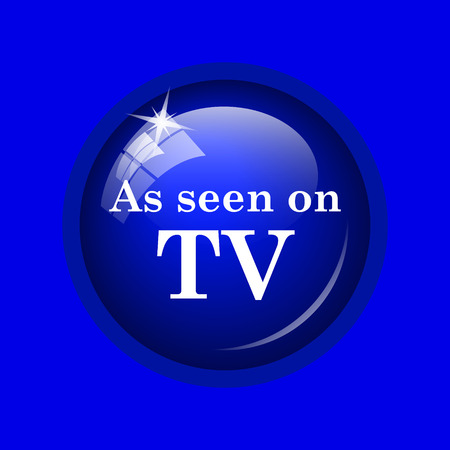 seen: As seen on TV icon. Internet button on blue background.