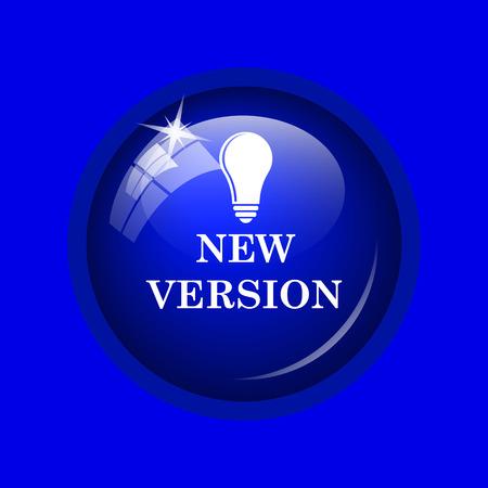 version: New version icon. Internet button on blue background.