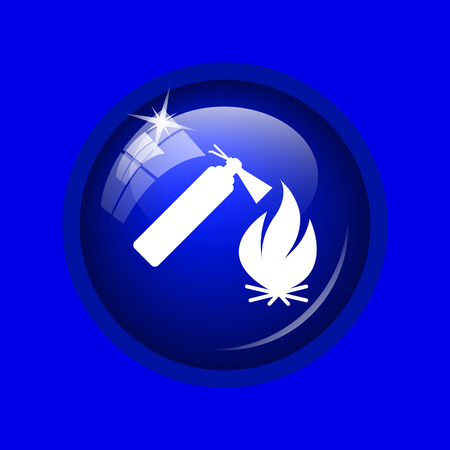 Fire icon. Internet button on blue background.
