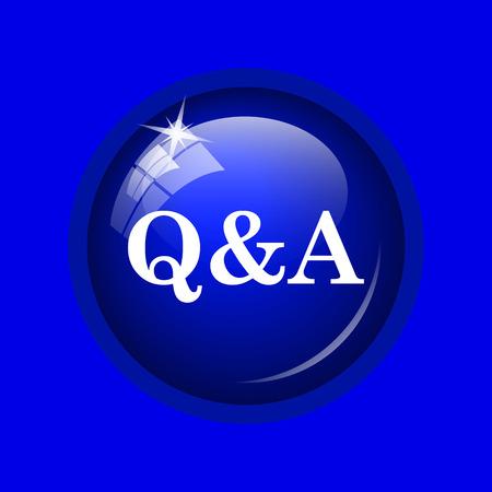 qa: Q&A icon. Internet button on blue background. Stock Photo