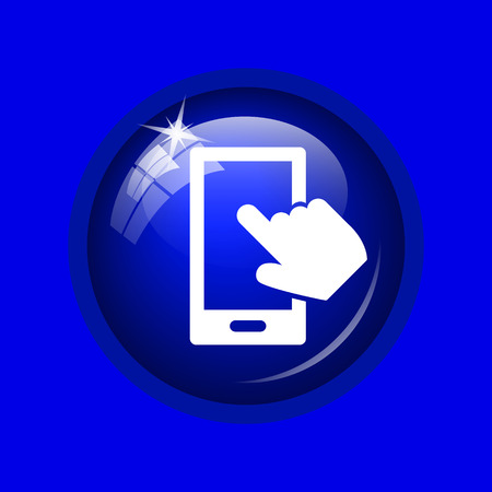 smartphone hand: Smartphone with hand icon. Internet button on blue background. Stock Photo