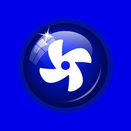 conditioned: Fan icon. Internet button on blue background. Stock Photo