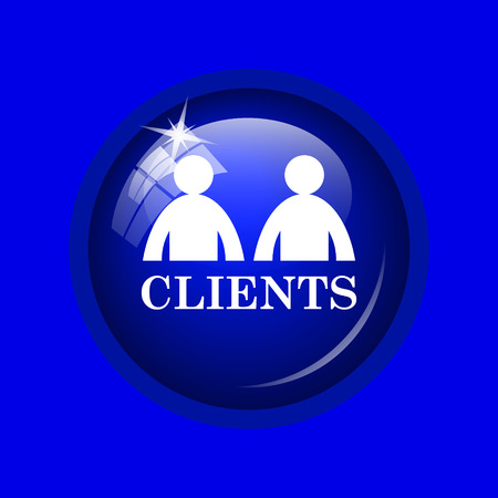 consumer society: Clients icon. Internet button on blue background.