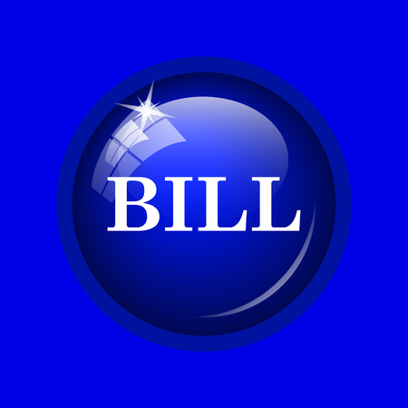 accounts payable: Bill icon. Internet button on blue background.