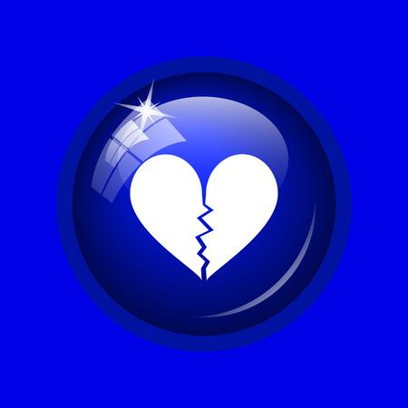delusion: Broken heart icon. Internet button on blue background.
