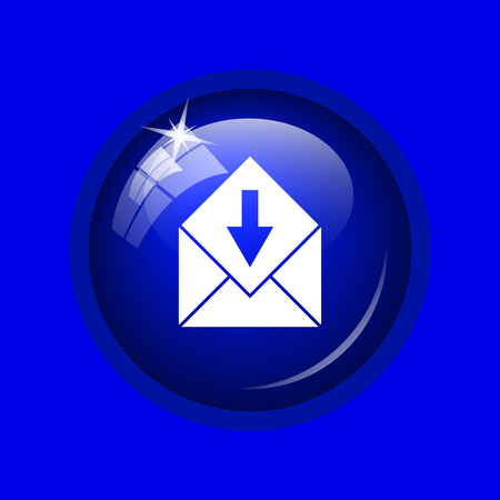 Receive e-mail icon. Internet button on blue background. Stock Photo