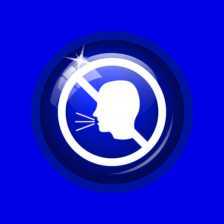 no talking: No talking icon. Internet button on blue background.