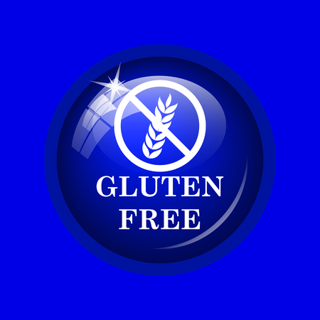 preservatives: Gluten free icon. Internet button on blue background. Stock Photo