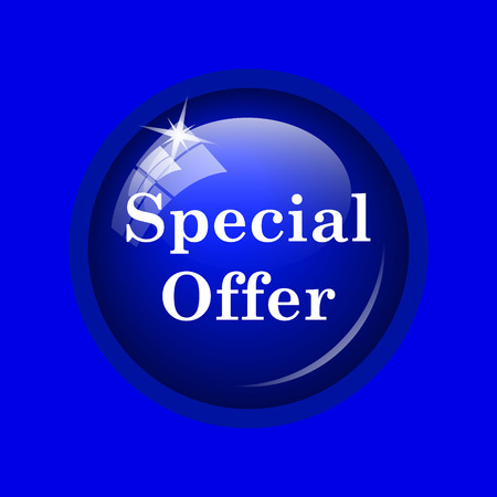 bargaining: Special offer icon. Internet button on blue background.