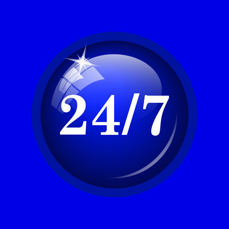 available: 24 7 icon. Internet button on blue background. Stock Photo