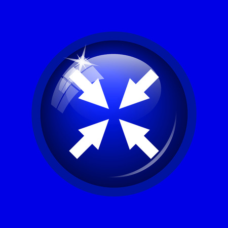 Exit full screen icon. Internet button on blue background.