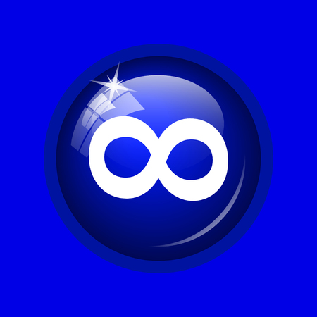 Infinity sign icon. Internet button on blue background.